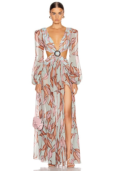 Printed Long Sleeve Cutout Dress