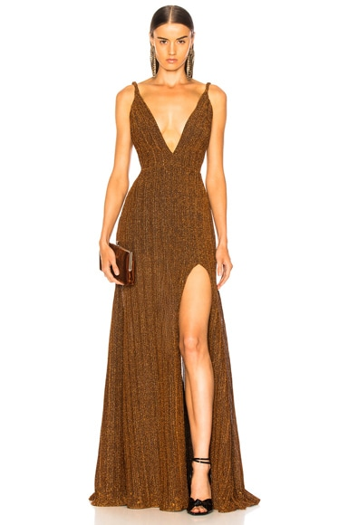 Pleated Lurex Gown