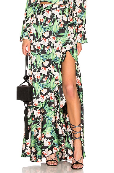 Printed Maxi Wrap Skirt
