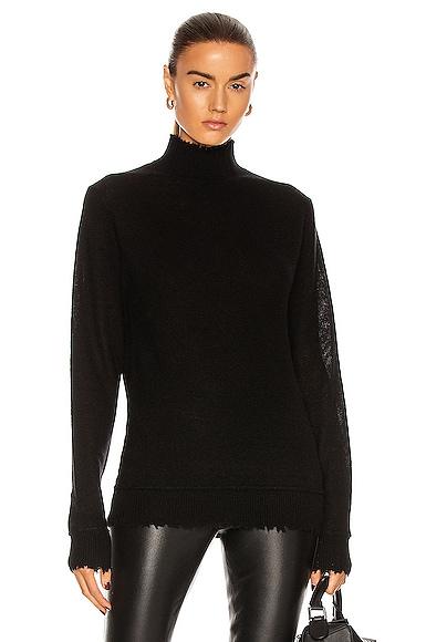 Distressed Edge Cashmere Turtleneck Sweater