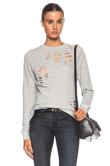 Shredded Zip Side Cotton Sweatshirt