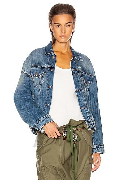 Oversized Cinched Waist Trucker Jacket