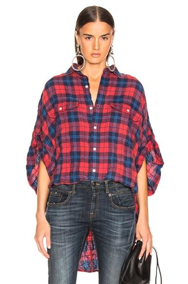 Oversized Rolled Sleeve Plaid Shirt
