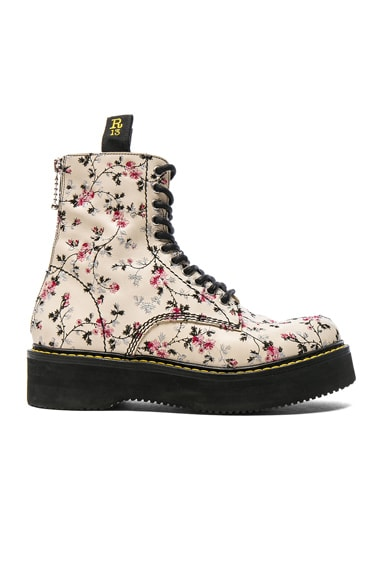 Embroidered Leather Stack Boots