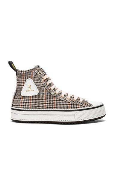 Plaid Twill Hi-Top Sneakers