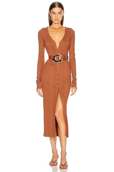 Division Rib Button Front Midi Dress
