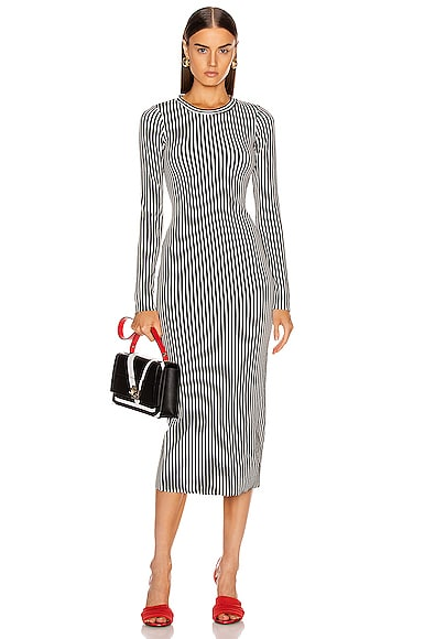 Bound Striped Midi Dress