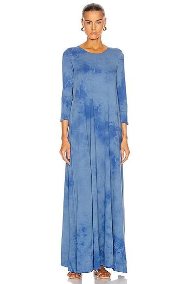 Raquel Allegra Half Sleeve Drama Maxi Dress in Blue Tie Dye | FWRD