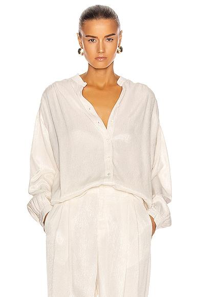 Raquel Allegra Shirred Blouse in Dirty White | FWRD