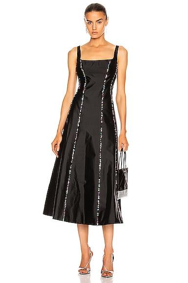 Sequined Silk Midi Dress