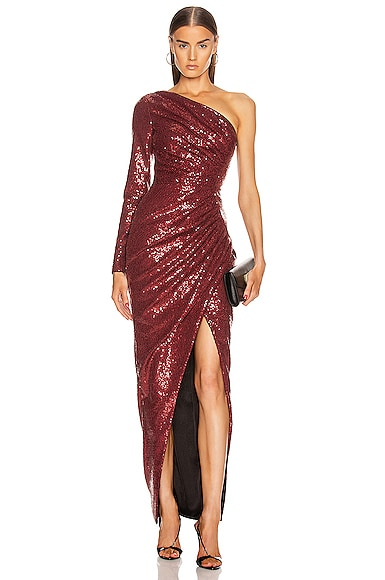 for FWRD One Shoulder Draped Sequin Gown