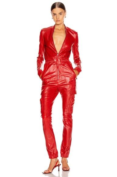 Leather Cargo Jumpsuit