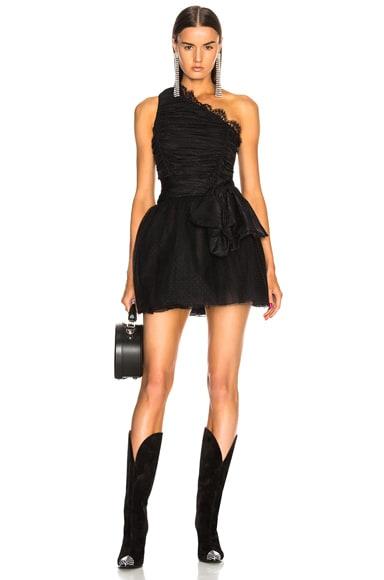 One Shoulder Python Jacquard Dress