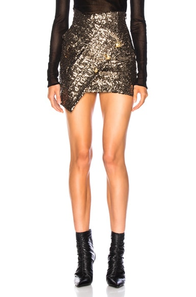 Asymmetric Sequins Skirt