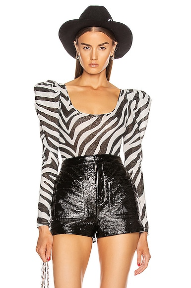 Zebra Puff Sleeve Bodysuit