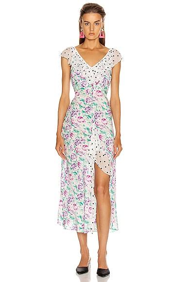 Rixo London Dresses RIXO ANTOINETTE MAXI DRESS IN POLKA DOT ITALIAN FLORAL & PINK TEAL
