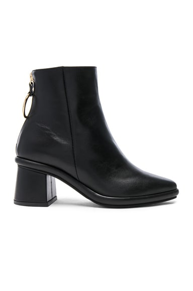 Leather Ring Slim Boots