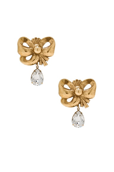 Bow Earrings with Teardrop Swarovski Detail