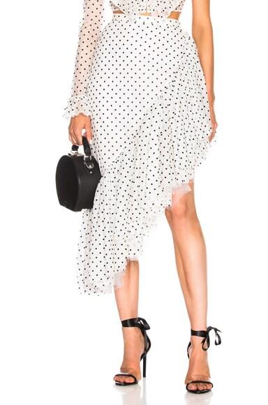 Flocked Tulle Asymmetric Ruffle Skirt
