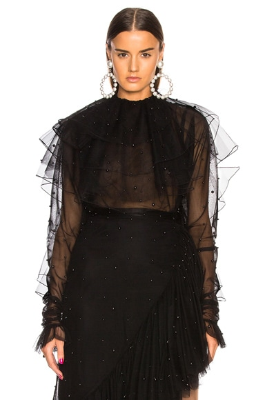Tulle & Black Pearl Low Back Tiered Blouse