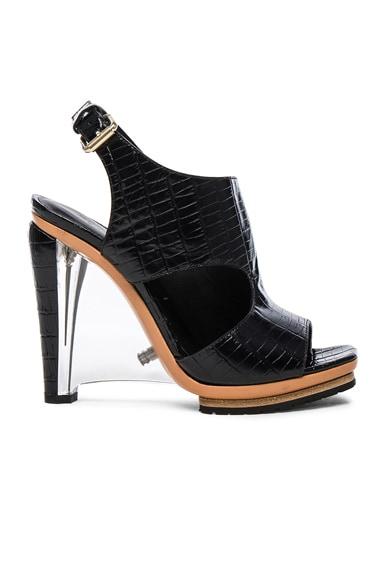 Embossed Croc Leather Sandals