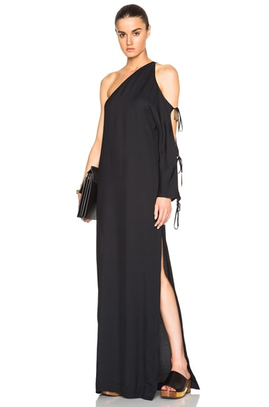 Crepe Sable One Sleeve Cutout Gown