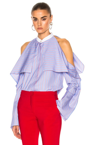 Striped Poplin Fold-Over Shirt
