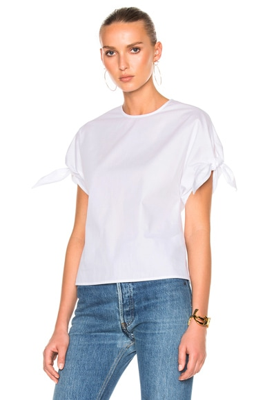 Cotton Poplin Wrap Sleeve Shirt