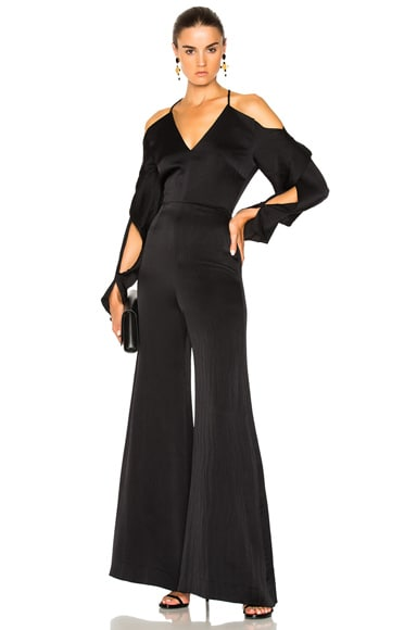 Soham Hammered Satin Cold Shoulder Jumpsuit