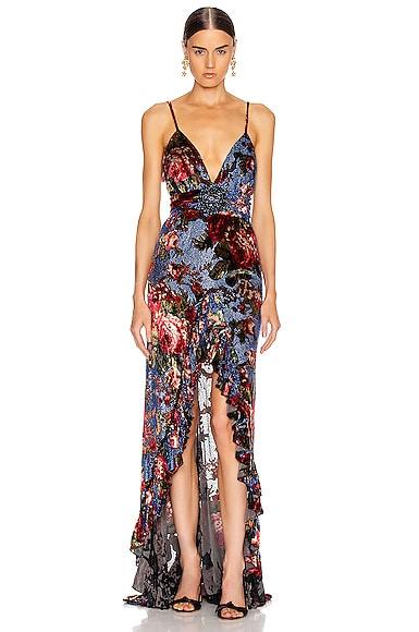 Strass Embellished Velvet Maxi Dress