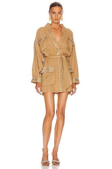 Embellished Pocket Trench Coat Dress