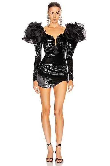 Velvet Ruffled Shoulder Mini Dress