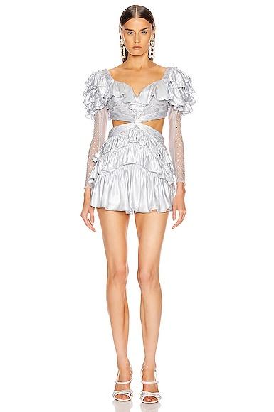 Strass Embellished Ruffled Lace Mini Dress