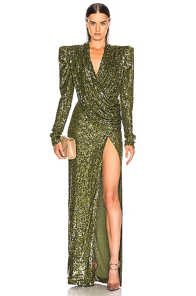 Raisa Vanessa Raisa&vanessa Sequined Wrap Maxi Dress In Green In Khaki Green