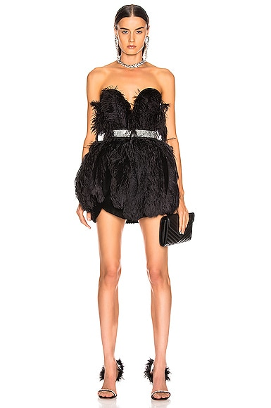 Strapless Feather Mini Dress