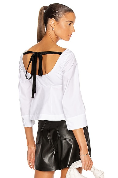 Rosie Assoulin Tip Of Shoulder Peplum Top In White