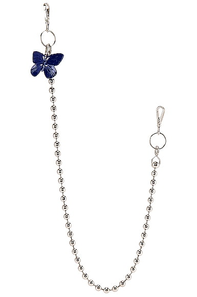 Blue Butterfly Ball Wallet Chain