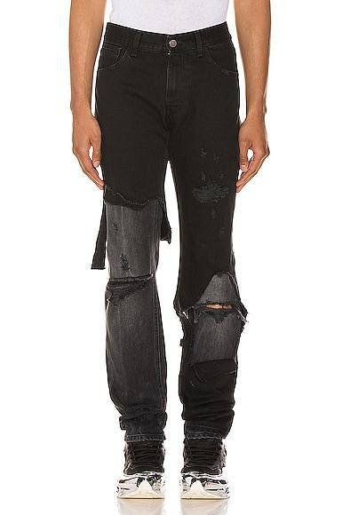Raf Simons Destroyed Denim Pants In