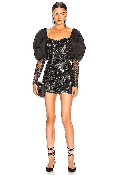 Sequin Embellished Puff Shoulder Mini Dress