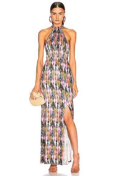Halter Style High Slit Maxi Dress