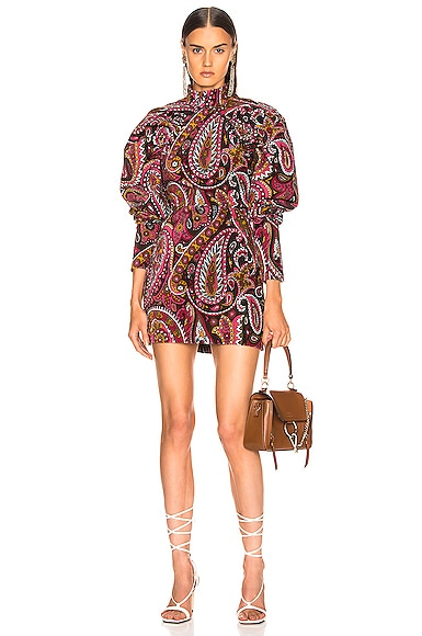 Paisley Velvet Puff Sleeve Mini Dress