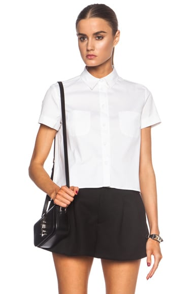 Poplin Button Up Cotton-Blend Pocket Top