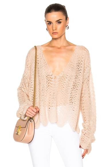 V Neck Open Crochet Sweater