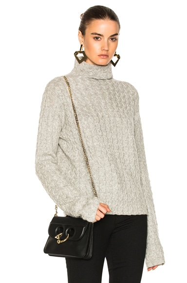 Cable Mock Turtleneck Sweater