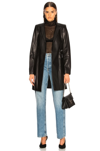 Rumor Belted Leather Blazer