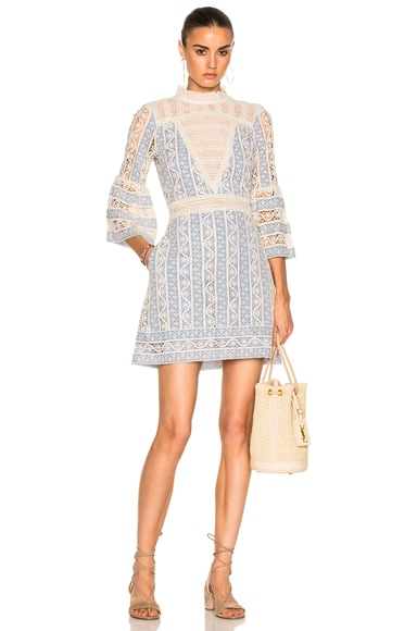 Column Crochet Bell Sleeve Dress