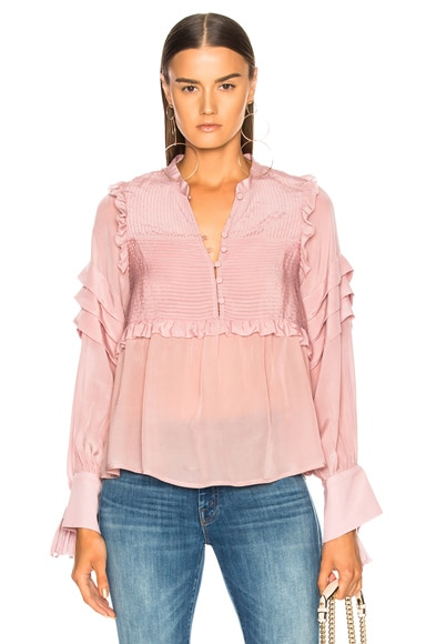 Cecile Long Sleeve Pleat Blouse