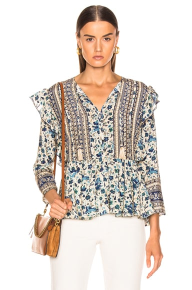 Doe Print Long Sleeve Blouse