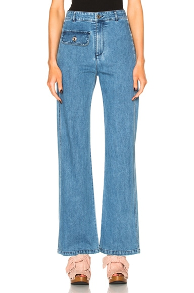 Wide Leg Denim Trousers