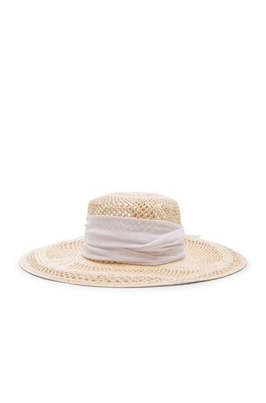 Open Weave Boater With Chiffon Hat